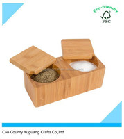 Square wooden salt box/ spice pepper container with slide lid and binocular