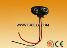 soft pvc shell 9v battery clip with 100mm lead wires
