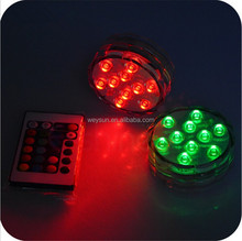 3AAA battery operated remote controlled 10 Multi-colors LED vase light,submersible led light