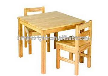 Mesa y sillas de madera maciza de pino ni os cama infantil - Mesas ninos madera ...