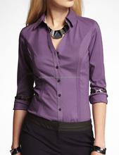 CHEFON Point shirt collar stitching details women workwear blouses for office uniform