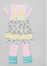 newest design american girls clothing set boutique tunic ruffle pant set knit ruffle pants low moq sets
