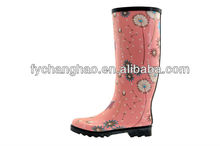 Women's Fashion Rubber Rain Boots , White Dandelion Printing With Black Sole, Match Up Lovely.