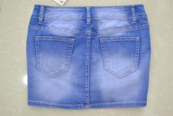 Indigo Short Denim Skirts High Quality Ripped Hole Ladies Jean Skirts Manufacturer