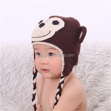 Crochet baby hat pure hand made hot sale monkey model A022