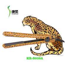 hot fashion professional classic 100% ceramic leopard/cheetah animal print water transfer printing hair flat iron