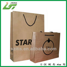 2015 OEM folding printed shopping paper bag/kraft shopping paper bag/brown shopping paper bag