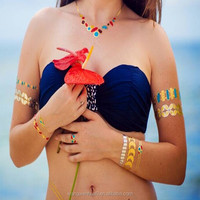 2015 colorful & metallic temporary tattoo/ Mix color gold bling tattoo /FASHION DESIGN Rose Gold FLASH TATTOO