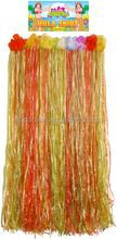 Hawaiian Grass Skirt With Flowers 38cm(w) 80cm(l) Adult