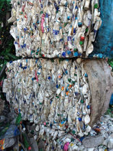 PET bottles scrap white milk baled