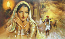 handmade woman Indian painting for wall decoration