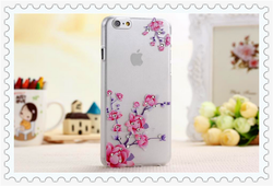 New arrival clear transparent plastic case with diamond for iphone6