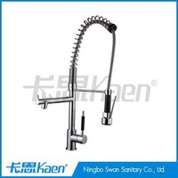 Double Handles Mixer Tap Chrome Kitchen Faucets With Rotatable Spray SW-3701