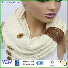 knit scarf winter muffler ladies infinity scarf with button