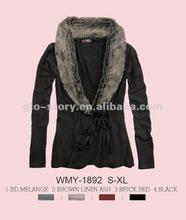 ladies fashion sweater jacket with fur collar 2012