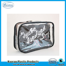 Eco-friendly Plastic Vinyl Cosmetic Pouch, promotional PVC Zipper bag for cosmetics