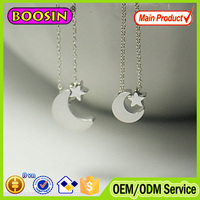 Custom tiny graduation slide charm moon and star silver plated necklace #B045