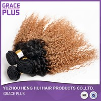 cheap brazilian malaysian afro kinky curly sew in remy hair weave ombre weave extension
