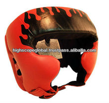 Boxing Head Guards m/o Cowhide leather with cheeks protection with Fire flames printing, All Sizes Buyer Logo and accept Paypal