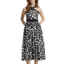 formal halter fit and flare black ivory fitted bodice pleated polka dot patterned ladies tea length party dress
