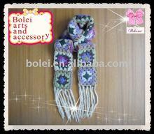 Flower pattern knitted scarf shawl