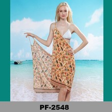 colored circles printed beach sarong for girls in tropical beach