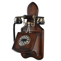 2015 Vintage Style Retro Phone Home Decorative Wooden Wall Mounted Corded Telephone Antique