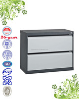 lateral 2-drawer filing cabinet with R-shaped handle, ball-bearing suspension slide, link-rod lock