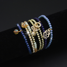 2015 natural stone elastic beaded bracelet with crystal and hamsa charms