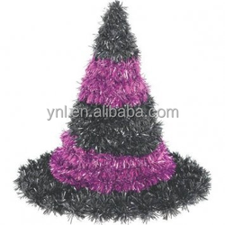 new products 2016 innovative product 3-D Black and Purple Tinsel Halloween Witch Hat Decor