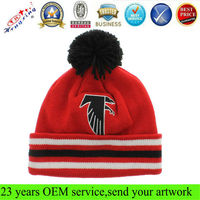Pom-pom knitted cuff beanie cheap custom embroidery knit pattern cable beanie hat