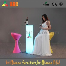 furniture guangzhou/led glass bar table /color changing outdoor led bar table