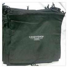 New Fashion Black Cotton Drawstring Shoe Bag