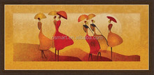 Unique Design Women with Umbrella in Desert Professional Strong Artists Team Handpainted Oil Painting African Style