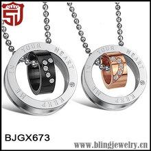 18k Rose Gold Round Zircon Design Lovers Necklace