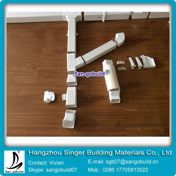 White inch rectangular pvc rain water gutter pipe