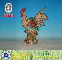 2014 new design colorful ceramic cock ornament