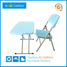 Patio lawn height adjustable plastic kids picnic folding table and chair