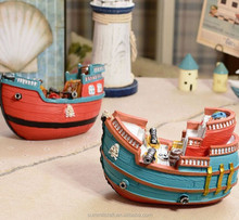 Mini colorful polyresin barco de pesca modelo