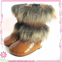 Brown PU leather material doll boots wholesale for 18 inch doll