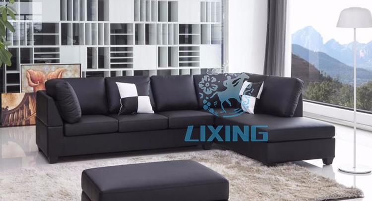 muebles de salón sofá de cuero esquina L tipo durable negro-Sofás ...