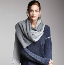 Fashion ladies double knitted scarf pattern cashmere wrap