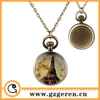 1194o Paris Eiffel Tower Decoration Roman Numerals Dial Chinese Guangzhou Wholesale Medium Scale Pocket Watches In Bulk