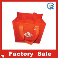 Factory wholesales eco-friendly non woven 6 bottle wine tote bag
