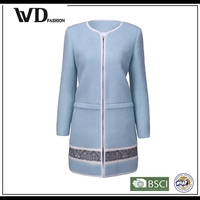 Alibaba online shopping women long coat model, ladies office coat