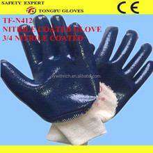 China Suppliers cotton cloth working gloves / blue nitrile fully coated working gloves for industrial working use