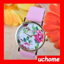 UCHOME Rose Flower Watch Ladies and Girls Floral Watches Women Quartz Wristwatch White Leather