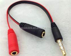 y adapter audio cable 1 male 3.5mm to 2 female for 2 earphones