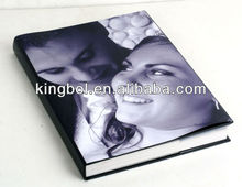 leather cover with photo paper dust jacket flush mount album for wedding photo