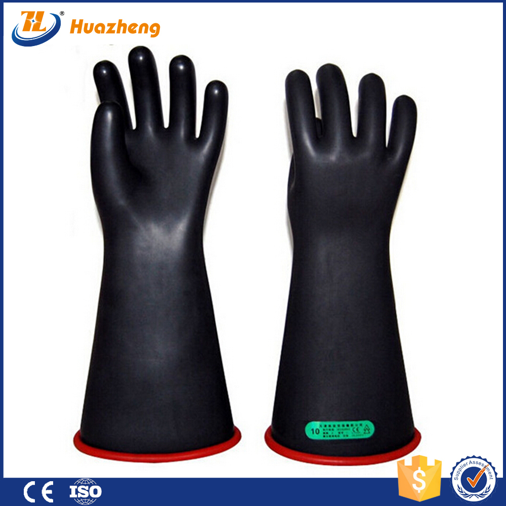 High Voltage Rubber Gloves : Electrical high voltage natural latex insulating gloves